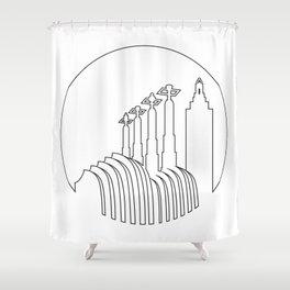 Kansas City - Minimalist Line Art Skyline Shower Curtain