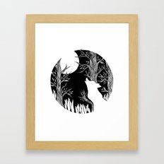 The Wolf and the Moon Framed Art Print
