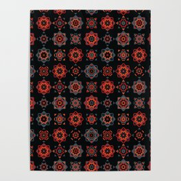 Folk Art Mosaic Tile Pattern Red Poster