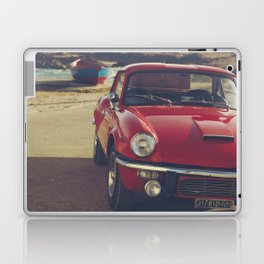 Triumph spitfire, english car by the beach in italy, old car and a boat, for man cave decor Laptop & iPad Skin