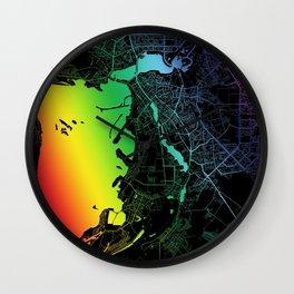 Kazan, Russia, City, Map, Rainbow, Map, Art, Print Wall Clock