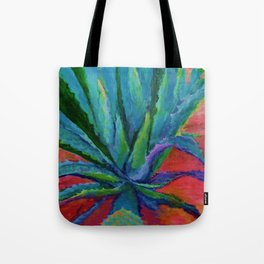 WESTERN DESERT BLUE AGAVE CACTUS in  RED-TEAL Tote Bag