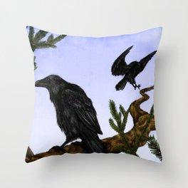 Huginn and Muninn Throw Pillow