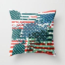 Like an American. USA grunge flag Throw Pillow