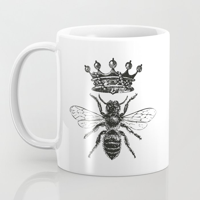 Queen Bee | Vintage Bee with Crown | Black and White | Kaffeebecher