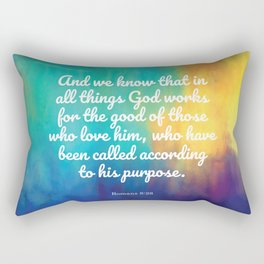 Romans 8:28, Encouraging Scripture Rectangular Pillow