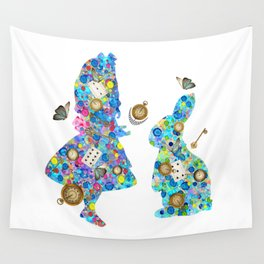 Colorful Watercolor Alice & The Rabbit - Wonderland Time Wall Tapestry
