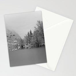 Partly Frozen Lake Bohinj Mono Stationery Cards