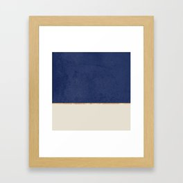 Navy Blue Gold Greige Nude Framed Art Print