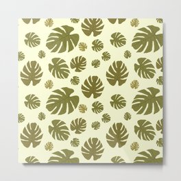 pattern with tropical exotic green leaves Metal Print