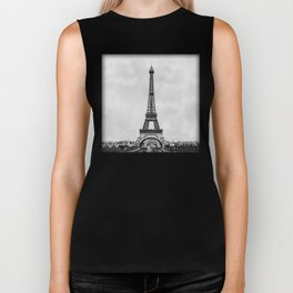 Eiffel tower, Paris France in black and white with painterly effect Biker Tank
