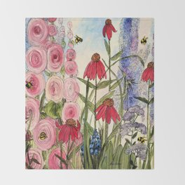 Contemporary Cottage Garden Flower Painting  Throw Blanket