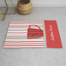 Coffee First With Stripes Rug
