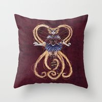 "sailormoon Throw Pillows featuring Steampunk Sailormoon by Barbora ""Mad Alice"" Urbankova"