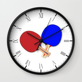 Two Table Tennis Bats Wall Clock
