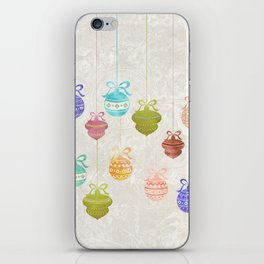 Colorful Watercolor Christmas Ornaments iPhone Skin
