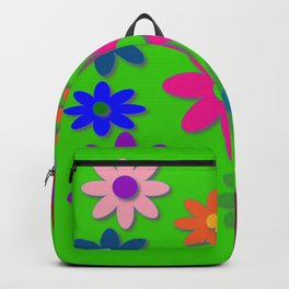 Flower Power - Green Background, Bright Colors, Fun Flower Power Desig Backpack