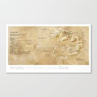 arrakis Canvas Prints featuring Arrakis-the desert planet Dune map by Martin Sanders