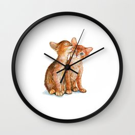 Cat, Animal Art, Little Cats Print, Animal, Two Cats Art, Orange Cats, Little Kitten, Kitten Wall Clock