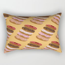 Stacked Donuts on Yellow Rectangular Pillow