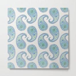 Blue Paisley Pattern Metal Print