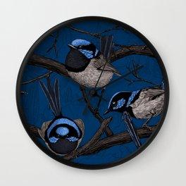 Night fairy wrens Wall Clock