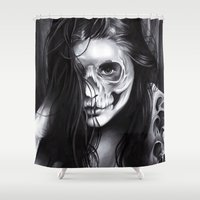 day of the dead Shower Curtains featuring Day Of The Dead by leonmorley