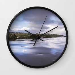 High Tide at Porth Beach Wall Clock