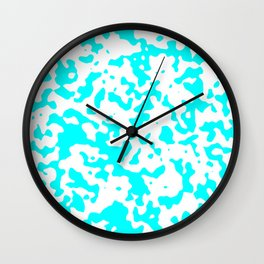 Spots - White and Aqua Cyan Wall Clock