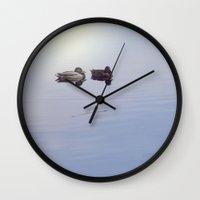 ducks Wall Clocks featuring Ducks by MyimagesArt