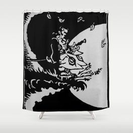 The Samurai and the Leaf Shower Curtain