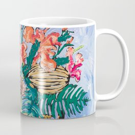 Tropical Banksia Bouquet after Matisse in Greek Boar Urn on Pale Painterly Blue Coffee Mug