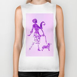 Purple glam lady & dog super plastic fantastic Biker Tank