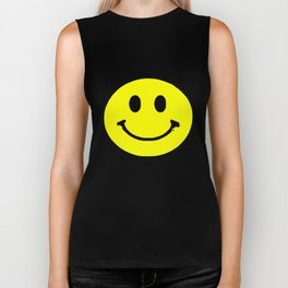 smiley face rave music logo Biker Tank
