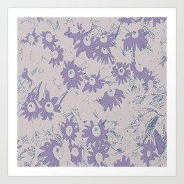 Purple Coneflowers with Grey Background Art Print