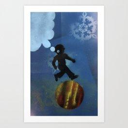 Boy Jumps Over Moon Art Print