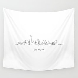 New York City Skyline Drawing Wall Tapestry