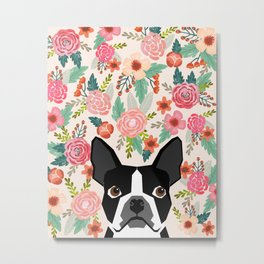 Boston Terrier florals flowers boho cute black and white boston terrier puppy dog pet portraits  Metal Print