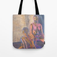 nudes Tote Bags featuring Nudes in Color by Amanda Marie Studios