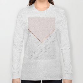 Peony blush geometric marble Long Sleeve T-shirt