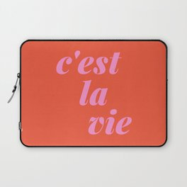 C'est La Vie French Language Saying in Bright Pink and Orange Laptop Sleeve