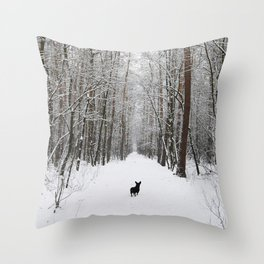 Dog in the snowland Throw Pillow