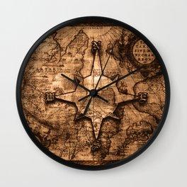 Antique World Map & Compass Rose Wall Clock