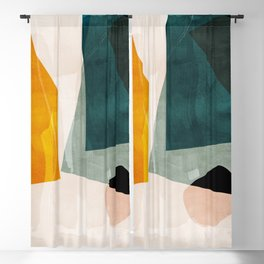 mid century shapes abstract painting 3 Blackout Curtain