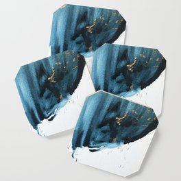 A Minimal Sapphire and Gold Abstract piece in blue white and gold by Alyssa Hamilton Art  Coaster