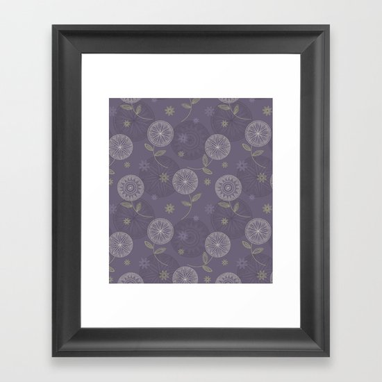 Folky Lace Flowers Framed Art Print