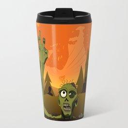 Halloween zombie on orange moon Travel Mug