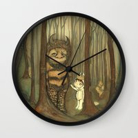 wild things Wall Clocks featuring Wild Things  by thepoppytree