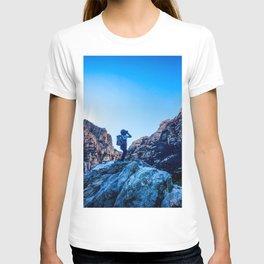 Boys Adventure | Rustic Camping Kid Red Rocks Climbing Explorer Blue Landscape Nursery Photograph T-shirt