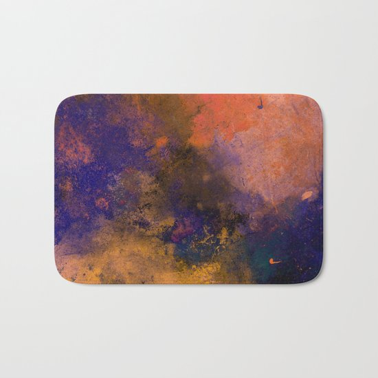 Inner Peace - Orange, red, blue, pastel, textured painting Bath Mat